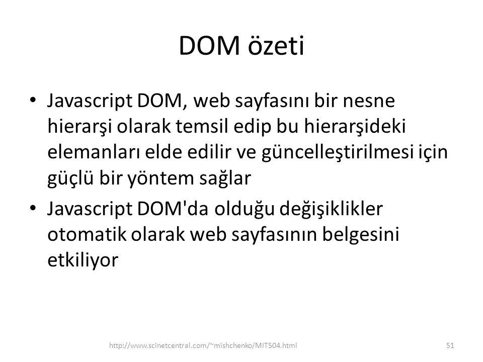 DOM özeti Javascript DOM, web sayfasını bir nesne hierarşi olarak temsil edip bu hierarşideki elemanları elde edilir ve güncelleştirilmesi için güçlü