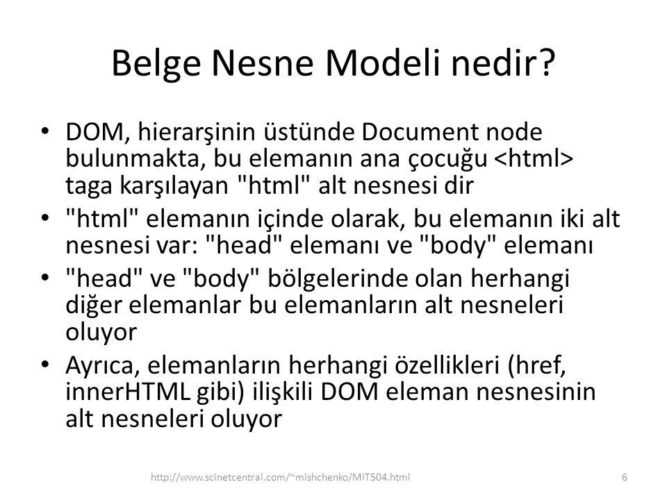 Belge Nesne Modeli nedir? DOM, hierarşinin üstünde Document node bulunmakta, bu elemanın ana çocuğu taga karşılayan