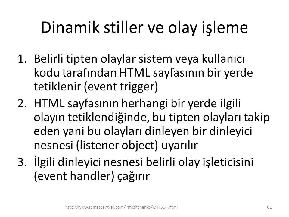 Dinamik stiller ve olay işleme 1.Belirli tipten olaylar sistem veya kullanıcı kodu tarafından HTML sayfasının bir yerde tetiklenir (event trigger) 2.H
