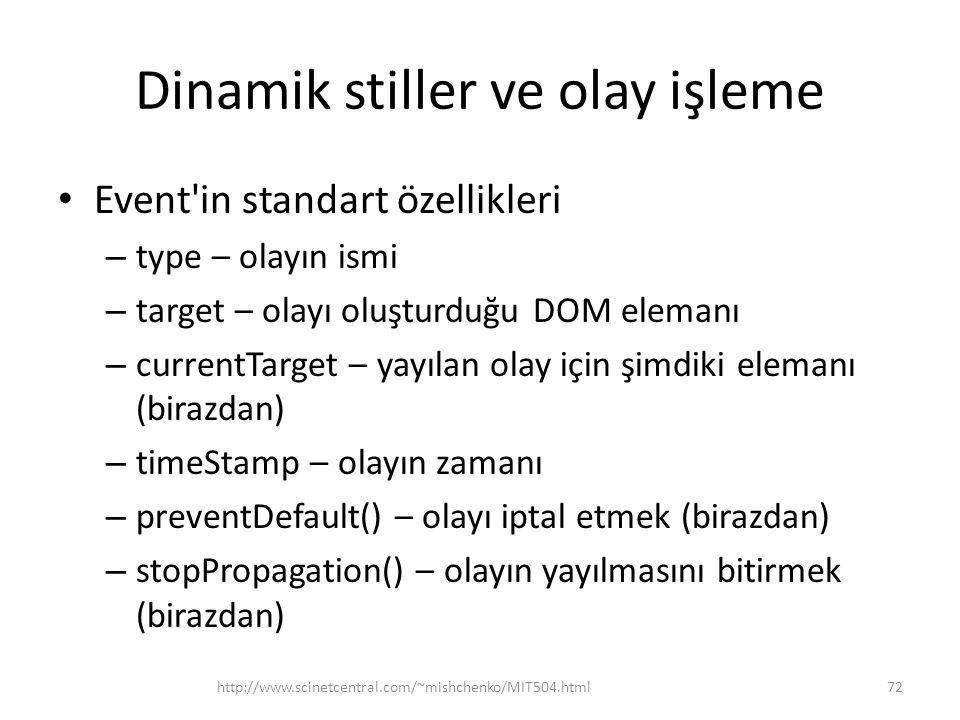Dinamik stiller ve olay işleme Event'in standart özellikleri – type – olayın ismi – target – olayı oluşturduğu DOM elemanı – currentTarget – yayılan o