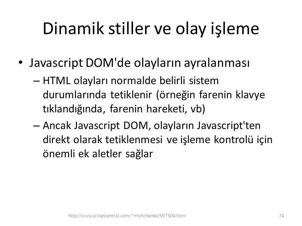 Dinamik stiller ve olay işleme Javascript DOM'de olayların ayralanması – HTML olayları normalde belirli sistem durumlarında tetiklenir (örneğin fareni