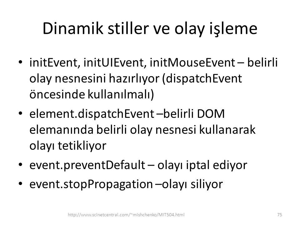 Dinamik stiller ve olay işleme initEvent, initUIEvent, initMouseEvent – belirli olay nesnesini hazırlıyor (dispatchEvent öncesinde kullanılmalı) eleme