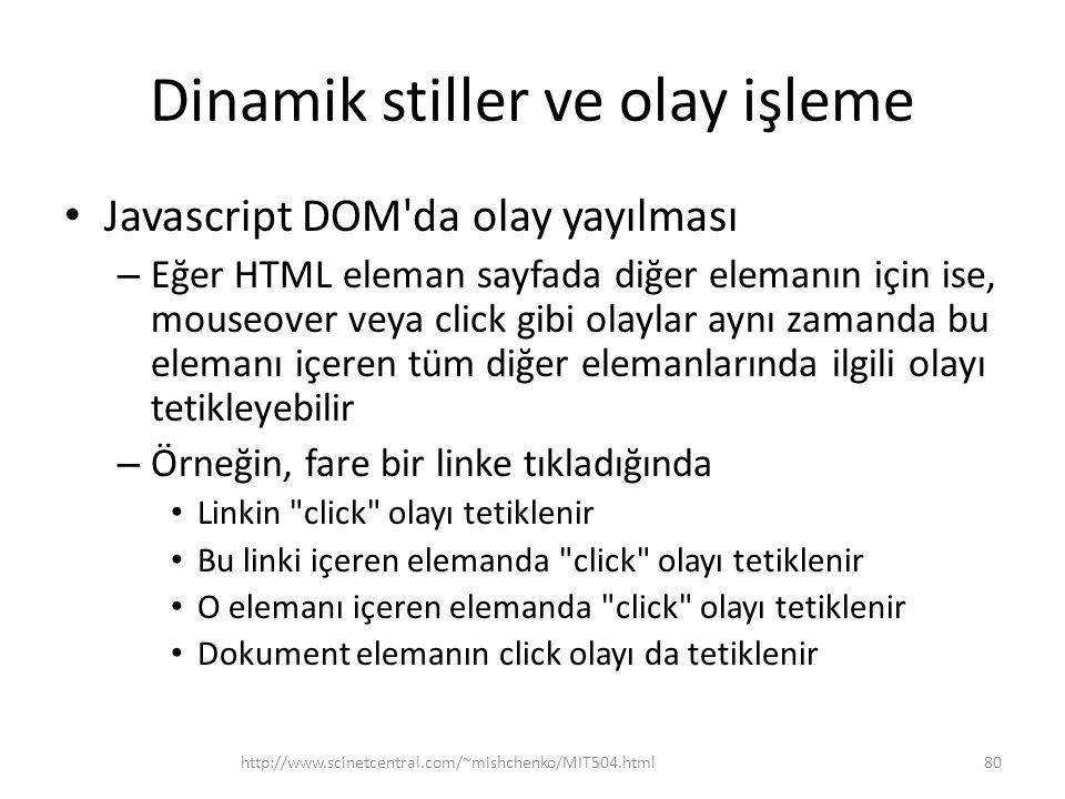 Dinamik stiller ve olay işleme Javascript DOM'da olay yayılması – Eğer HTML eleman sayfada diğer elemanın için ise, mouseover veya click gibi olaylar