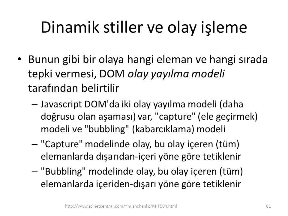 Dinamik stiller ve olay işleme Bunun gibi bir olaya hangi eleman ve hangi sırada tepki vermesi, DOM olay yayılma modeli tarafından belirtilir – Javasc