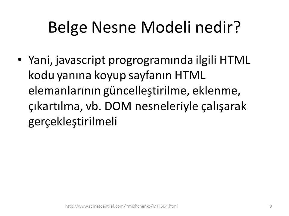 Belge Nesne Modeli nedir? Yani, javascript progrogramında ilgili HTML kodu yanına koyup sayfanın HTML elemanlarının güncelleştirilme, eklenme, çıkartı