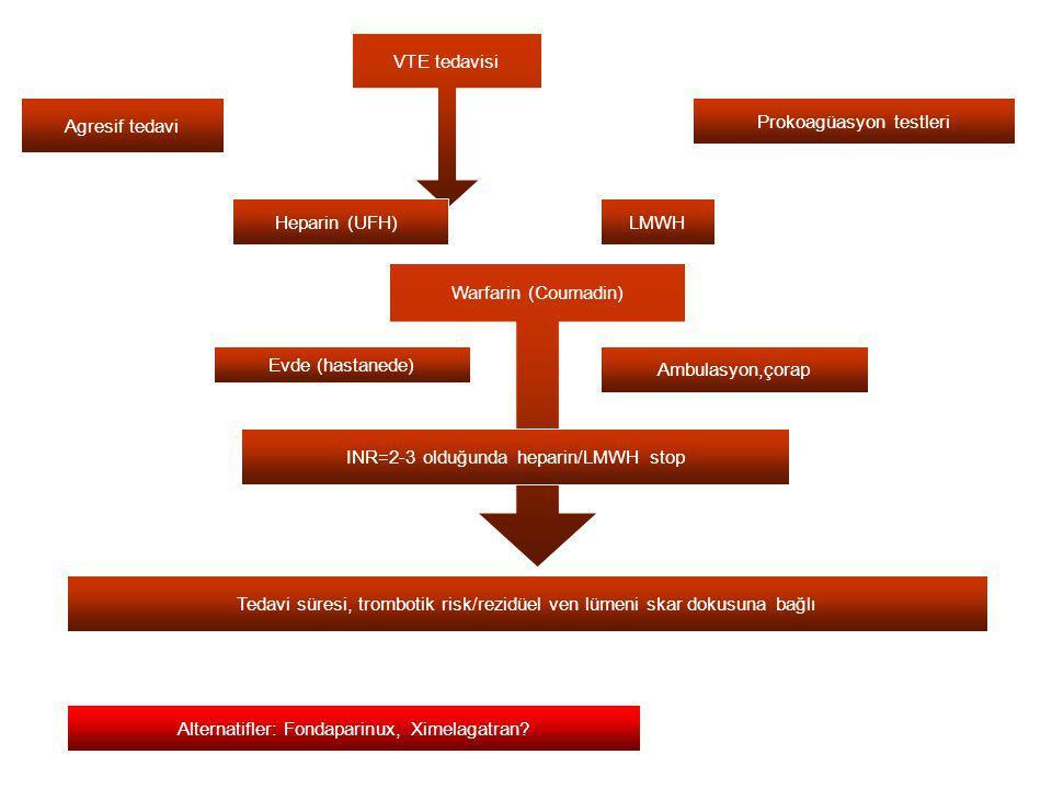 Agresif tedavi VTE tedavisi Prokoagüasyon testleri Heparin (UFH) LMWH Warfarin (Coumadin) Evde (hastanede) Ambulasyon,çorap INR=2-3 olduğunda heparin/LMWH stop Tedavi süresi, trombotik risk/rezidüel ven lümeni skar dokusuna bağlı Alternatifler: Fondaparinux, Ximelagatran?