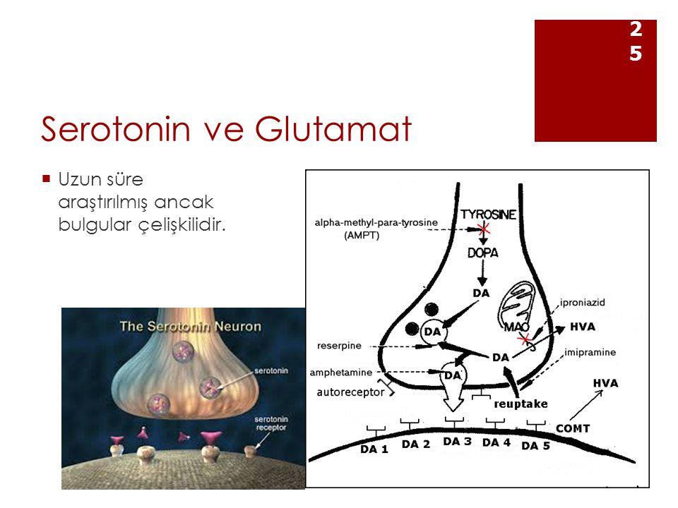 Serotonin ve Glutamat  Uzun süre araştırılmış ancak bulgular çelişkilidir. 25