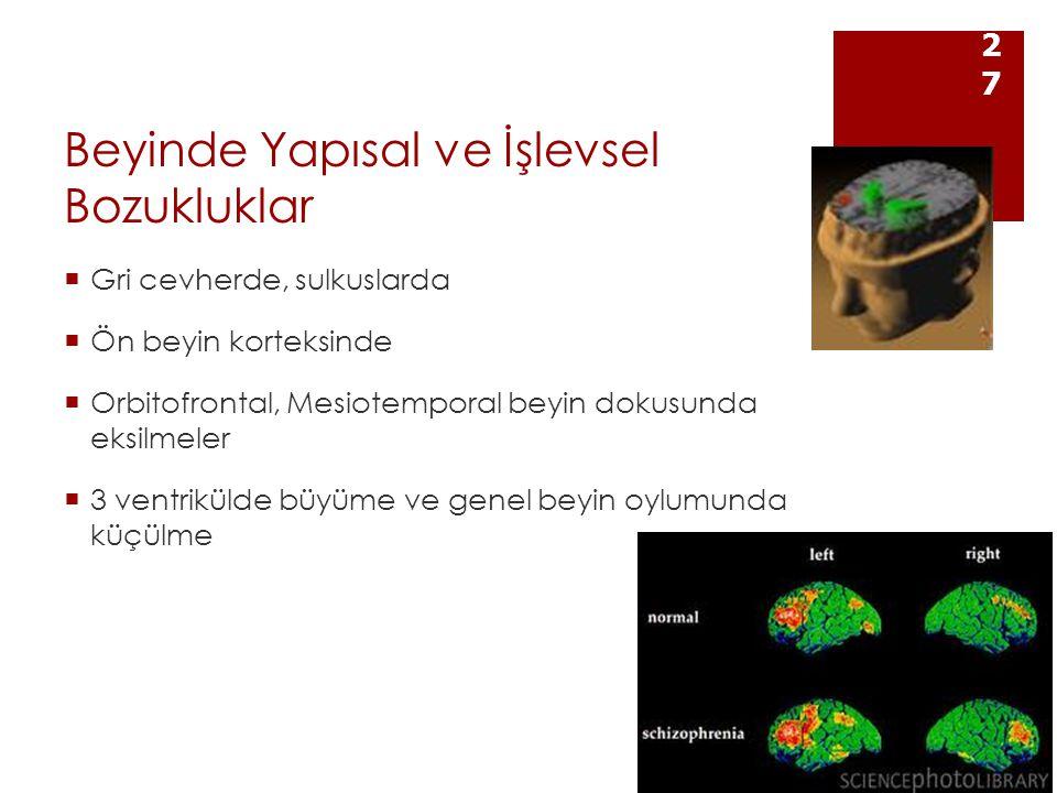 Beyinde Yapısal ve İşlevsel Bozukluklar  Gri cevherde, sulkuslarda  Ön beyin korteksinde  Orbitofrontal, Mesiotemporal beyin dokusunda eksilmeler  3 ventrikülde büyüme ve genel beyin oylumunda küçülme 27