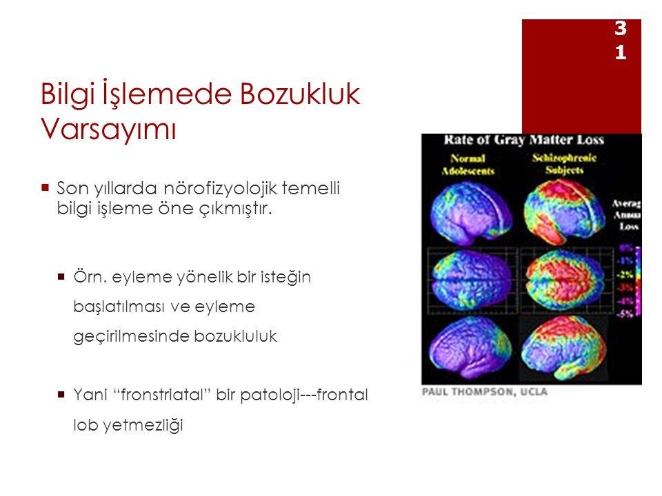 Bilgi İşlemede Bozukluk Varsayımı  Son yıllarda nörofizyolojik temelli bilgi işleme öne çıkmıştır.