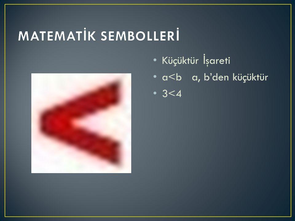 Küçüktür İ şareti a<b a, b'den küçüktür 3<4
