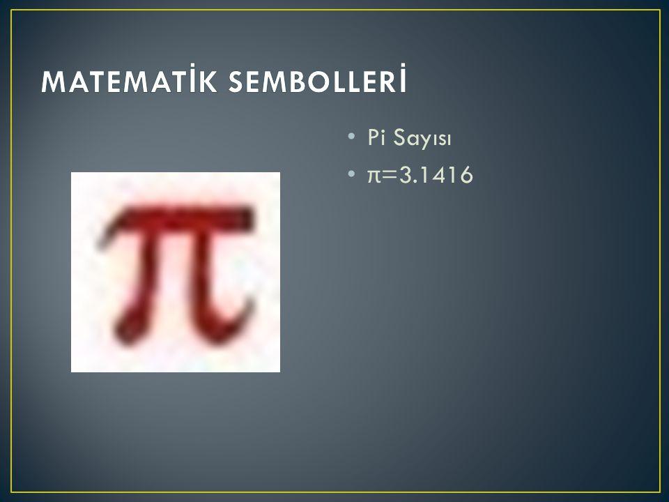 Pi Sayısı π =3.1416