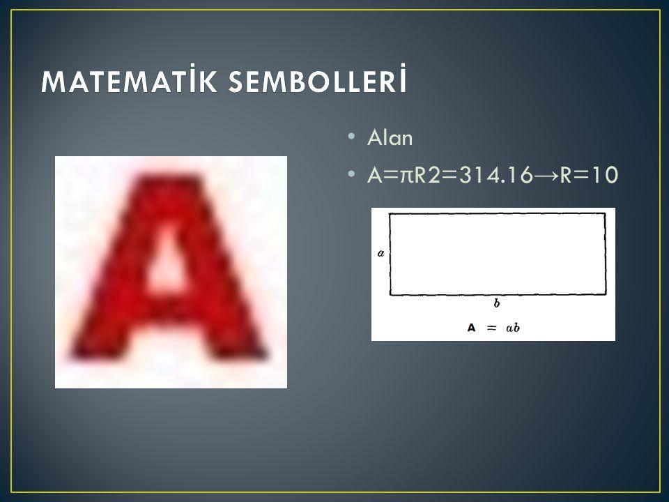 Alan A= π R2=314.16 → R=10