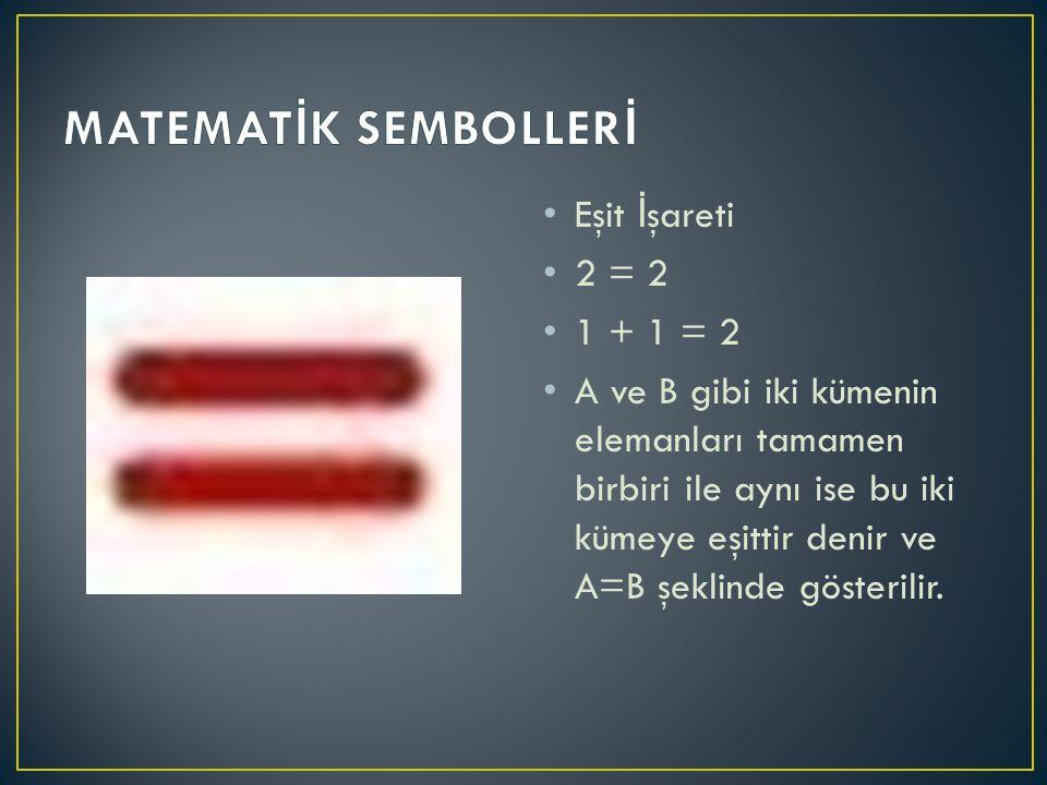 Küme İ şareti A = {1, 2, 3, 4}