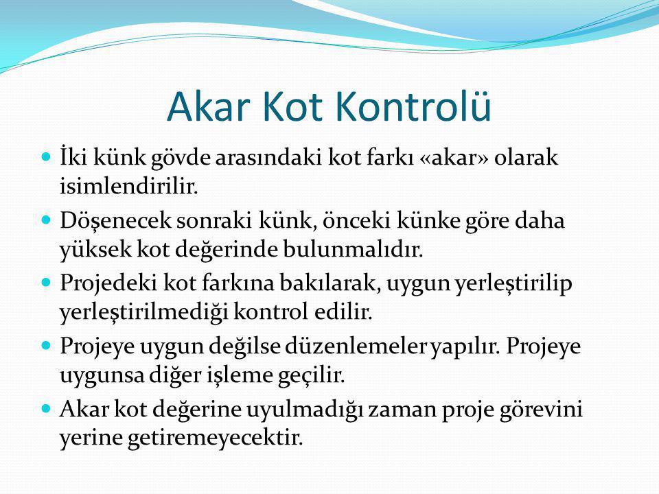 Akar Kot Kontrolü İki künk gövde arasındaki kot farkı «akar» olarak isimlendirilir. Döşenecek sonraki künk, önceki künke göre daha yüksek kot değerind