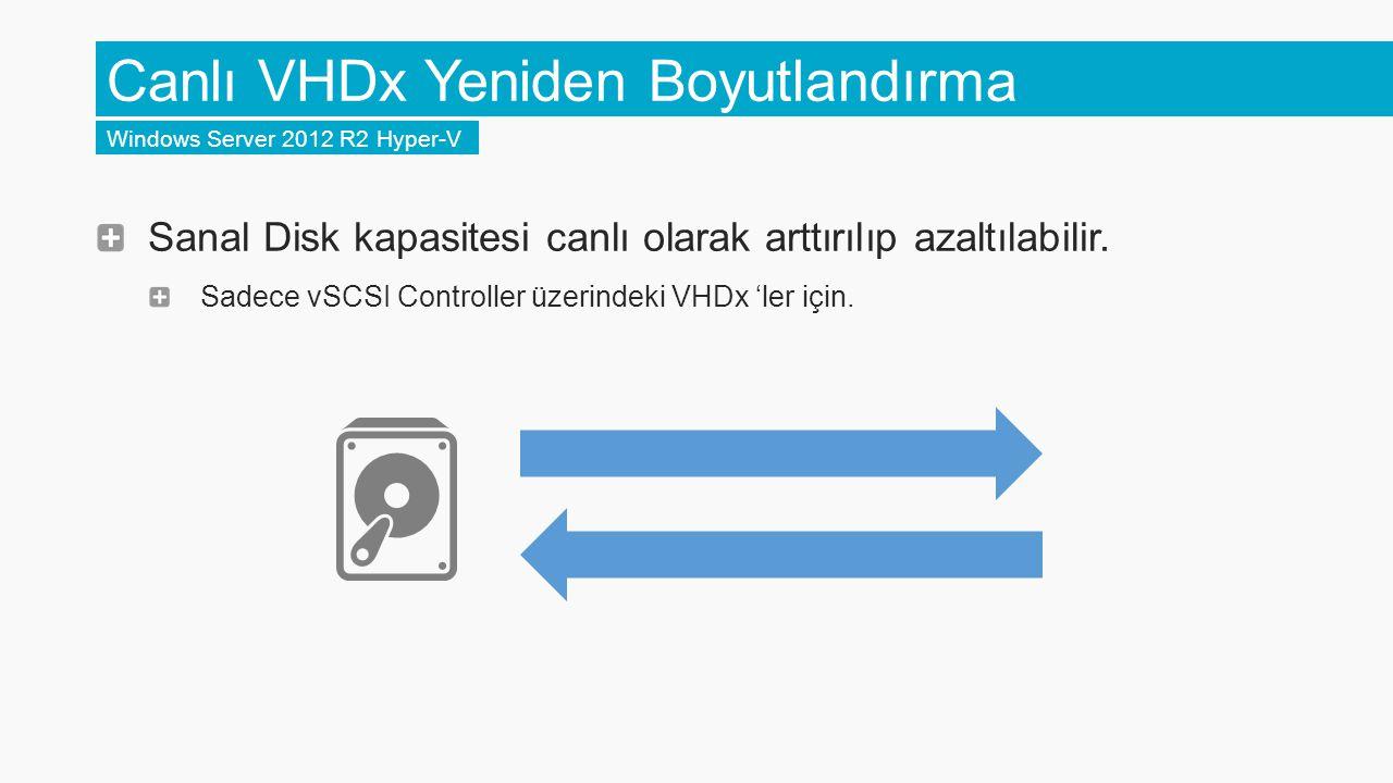 Canlı VHDx Yeniden Boyutlandırma Windows Server 2012 R2 Hyper-V Sanal Disk kapasitesi canlı olarak arttırılıp azaltılabilir. Sadece vSCSI Controller ü