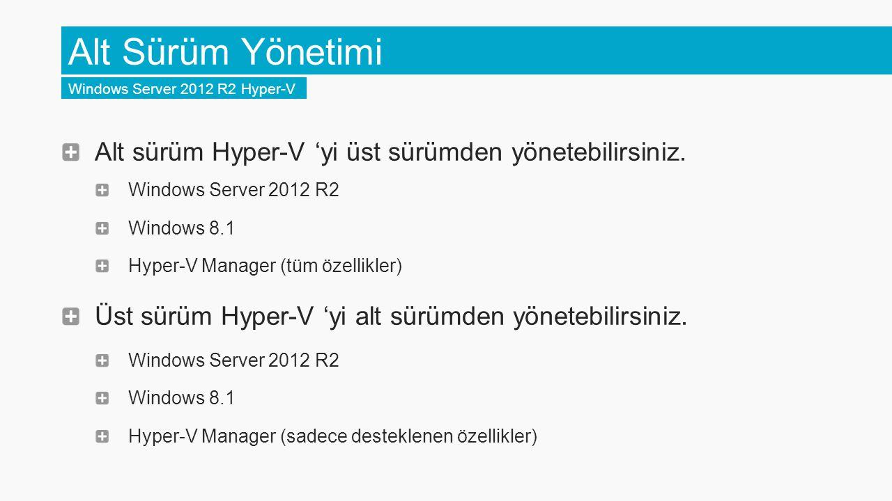 Alt Sürüm Yönetimi Windows Server 2012 R2 Hyper-V Alt sürüm Hyper-V 'yi üst sürümden yönetebilirsiniz. Windows Server 2012 R2 Windows 8.1 Hyper-V Mana