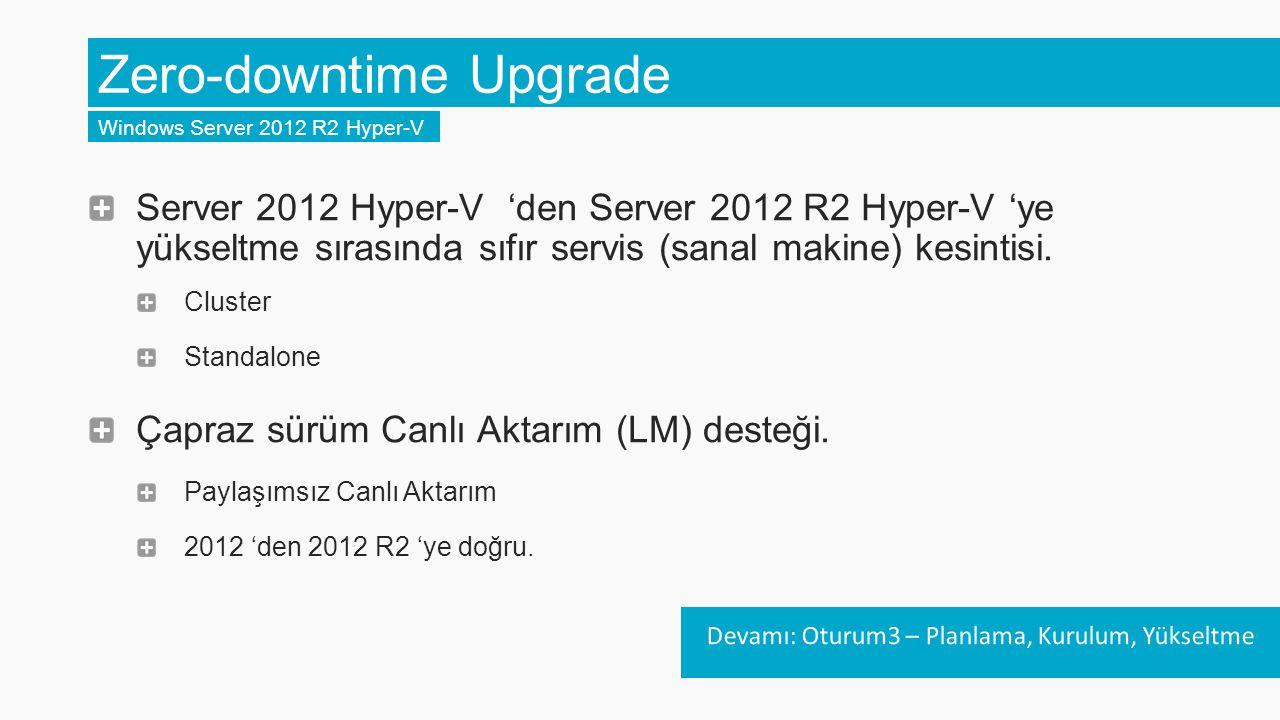 Sürümler Arası Canlı Aktarım (Cross LM) Windows Server 2012 R2 Hyper-V Sürümler arası Canlı Aktarım desteği.