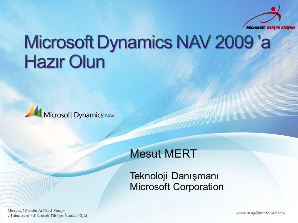 Microsoft Gelişim Atölyesi Kampı 2 Şubat 2010 – Microsoft Türkiye İstanbul Ofisi www.msgelisimatolyesi.com Mesut MERT Teknoloji Danışmanı Microsoft Corporation