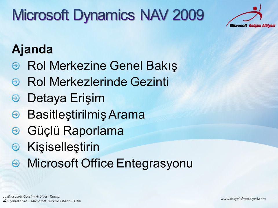 Microsoft Gelişim Atölyesi Kampı 2 Şubat 2010 – Microsoft Türkiye İstanbul Ofisi www.msgelisimatolyesi.com Ajanda Rol Merkezine Genel Bakış Rol Merkezlerinde Gezinti Detaya Erişim Basitleştirilmiş Arama Güçlü Raporlama Kişiselleştirin Microsoft Office Entegrasyonu 2