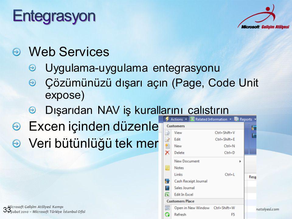 Microsoft Gelişim Atölyesi Kampı 2 Şubat 2010 – Microsoft Türkiye İstanbul Ofisi www.msgelisimatolyesi.com Web Services Uygulama-uygulama entegrasyonu Çözümünüzü dışarı açın (Page, Code Unit expose) Dışarıdan NAV iş kurallarını çalıştırın Excen içinden düzenley Veri bütünlüğü tek merkezden 33