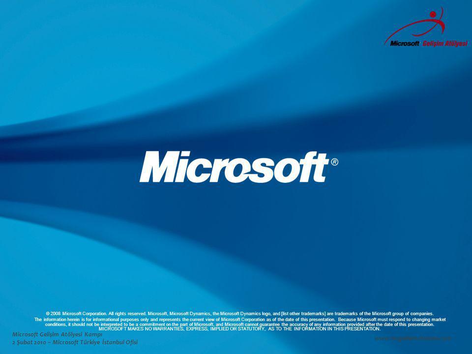 Microsoft Gelişim Atölyesi Kampı 2 Şubat 2010 – Microsoft Türkiye İstanbul Ofisi www.msgelisimatolyesi.com © 2008 Microsoft Corporation.