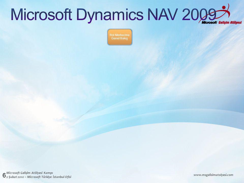 Microsoft Gelişim Atölyesi Kampı 2 Şubat 2010 – Microsoft Türkiye İstanbul Ofisi www.msgelisimatolyesi.com 6 Rol Merkezine Genel Bakış
