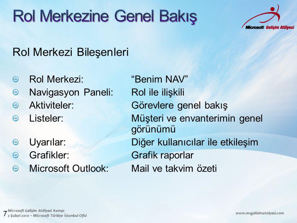 Microsoft Gelişim Atölyesi Kampı 2 Şubat 2010 – Microsoft Türkiye İstanbul Ofisi www.msgelisimatolyesi.com Rol Merkezi Bileşenleri Rol Merkezi: Benim NAV Navigasyon Paneli: Rol ile ilişkili Aktiviteler: Görevlere genel bakış Listeler: Müşteri ve envanterimin genel görünümü Uyarılar: Diğer kullanıcılar ile etkileşim Grafikler: Grafik raporlar Microsoft Outlook: Mail ve takvim özeti 7