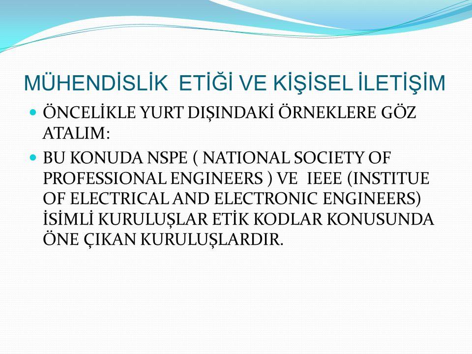 ÖNCELİKLE YURT DIŞINDAKİ ÖRNEKLERE GÖZ ATALIM: BU KONUDA NSPE ( NATIONAL SOCIETY OF PROFESSIONAL ENGINEERS ) VE IEEE (INSTITUE OF ELECTRICAL AND ELECT
