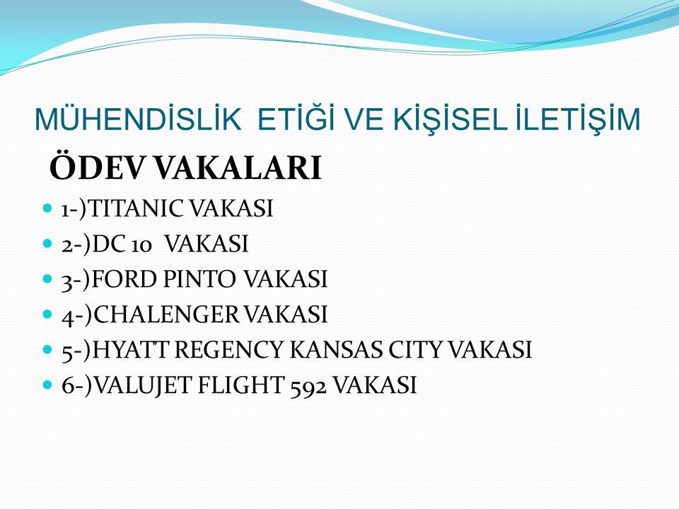 ÖDEV VAKALARI 1-)TITANIC VAKASI 2-)DC 10 VAKASI 3-)FORD PINTO VAKASI 4-)CHALENGER VAKASI 5-)HYATT REGENCY KANSAS CITY VAKASI 6-)VALUJET FLIGHT 592 VAK