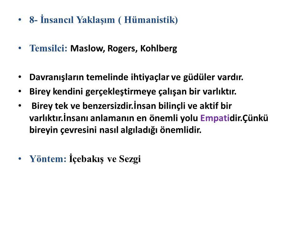 8- İnsancıl Yaklaşım ( Hümanistik) Temsilci: Maslow, Rogers, Kohlberg Davranışların temelinde ihtiyaçlar ve güdüler vardır. Birey kendini gerçekleştir