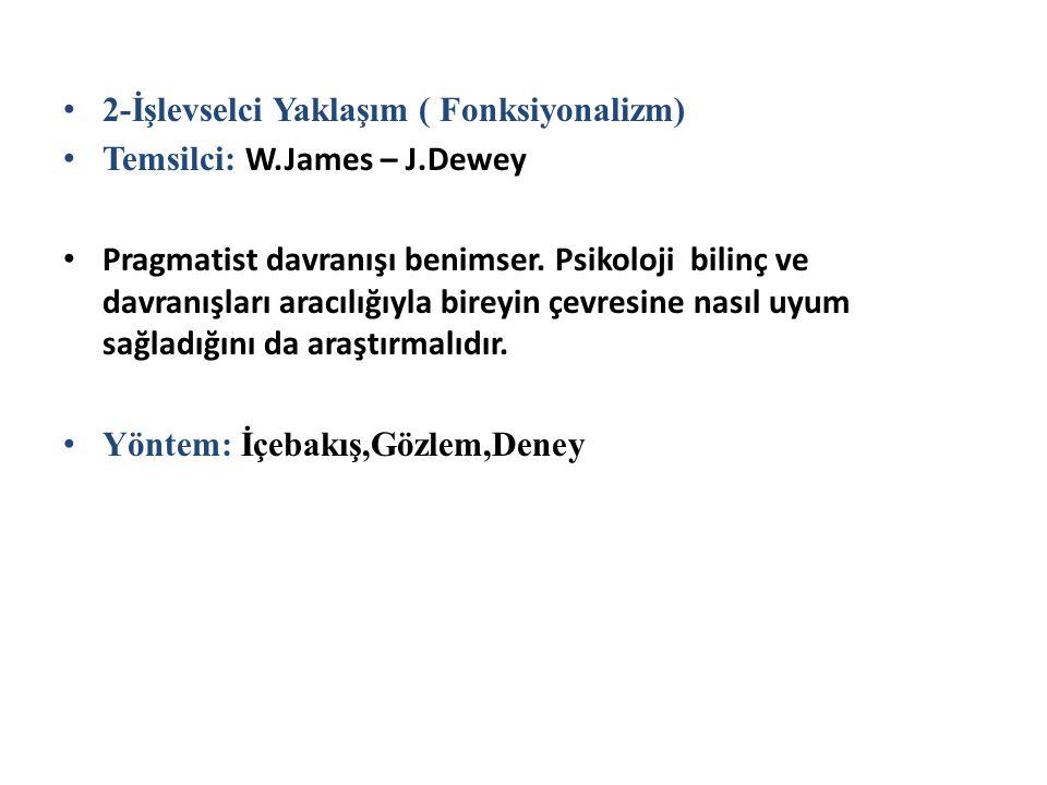 2-İşlevselci Yaklaşım ( Fonksiyonalizm) Temsilci: W.James – J.Dewey Pragmatist davranışı benimser. Psikoloji bilinç ve davranışları aracılığıyla birey