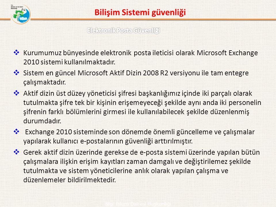 Bilgi İşlem Dairesi Başkanlığı Bilişim Sistemi güvenliği  Kurumumuz bünyesinde elektronik posta ileticisi olarak Microsoft Exchange 2010 sistemi kull