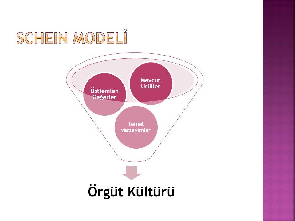 Örgüt Kültürü Temel varsayımlar Üstlenilen Değerler Mevcut Usüller