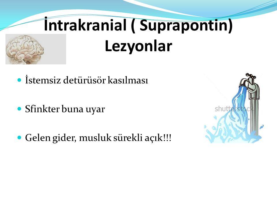 İntrakranial ( Suprapontin) Lezyonlar İstemsiz detürüsör kasılması Sfinkter buna uyar Gelen gider, musluk sürekli açık!!!