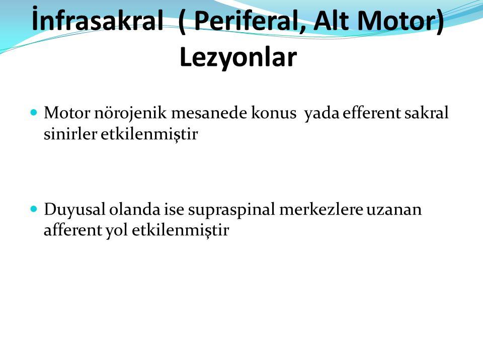 İnfrasakral ( Periferal, Alt Motor) Lezyonlar Motor nörojenik mesanede konus yada efferent sakral sinirler etkilenmiştir Duyusal olanda ise supraspinal merkezlere uzanan afferent yol etkilenmiştir