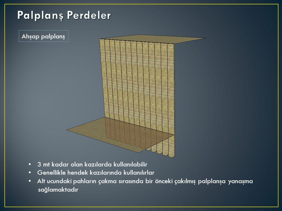 Ahşap palplanş 3 mt kadar olan kazılarda kullanılabilir Genellikle hendek kazılarında kullanılırlar Alt ucundaki pahların çakma sırasında bir önceki ç