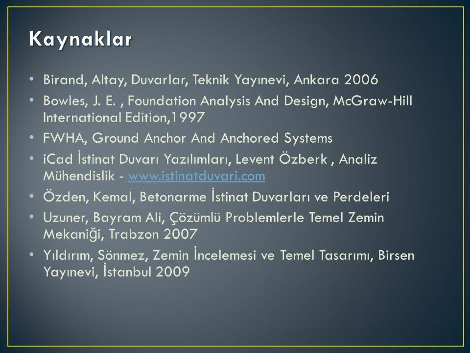 Birand, Altay, Duvarlar, Teknik Yayınevi, Ankara 2006 Bowles, J. E., Foundation Analysis And Design, McGraw-Hill International Edition,1997 FWHA, Grou