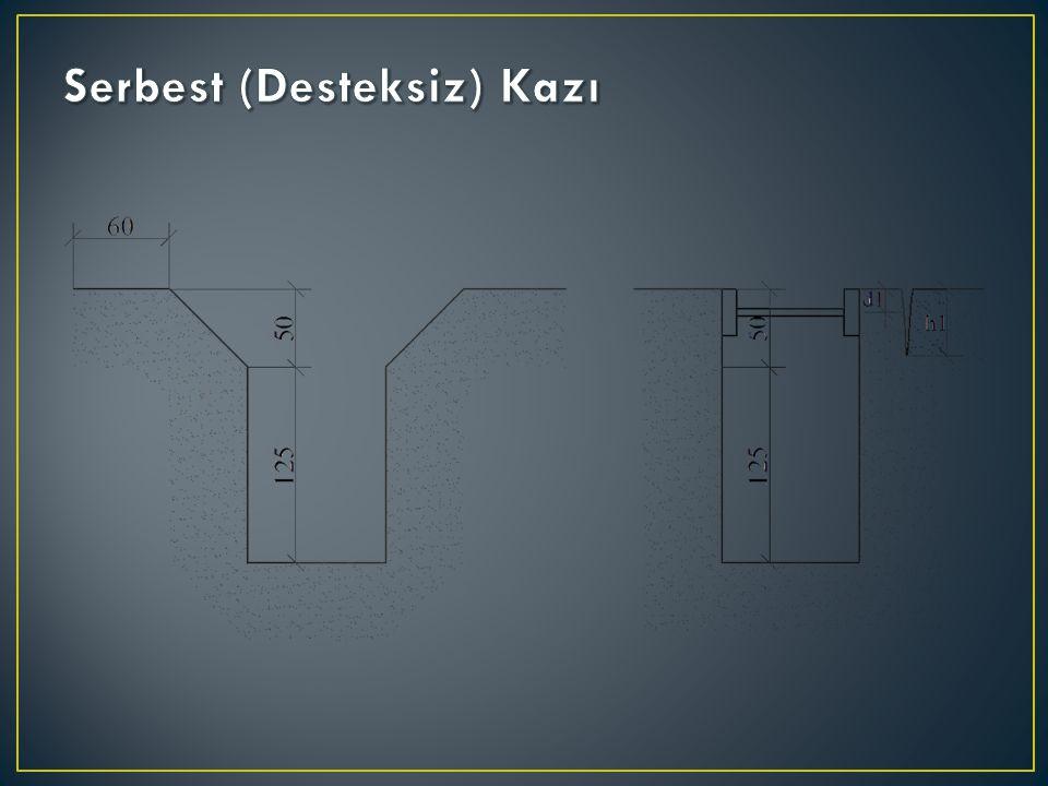 DIN 4124 e göre şevli kazılarda her 3 mt de 1.5 mt lik şev verilmelidir.