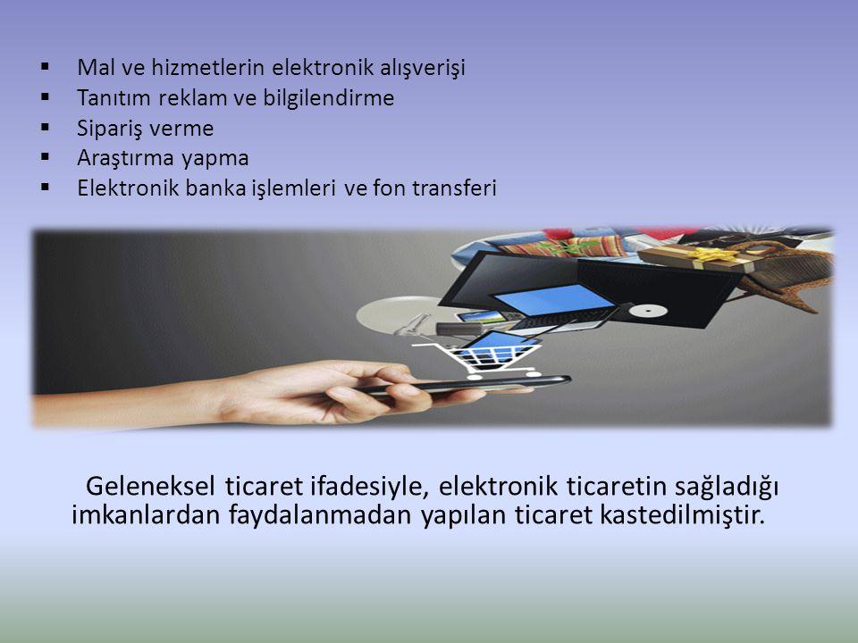  Mal ve hizmetlerin elektronik alışverişi  Tanıtım reklam ve bilgilendirme  Sipariş verme  Araştırma yapma  Elektronik banka işlemleri ve fon tra