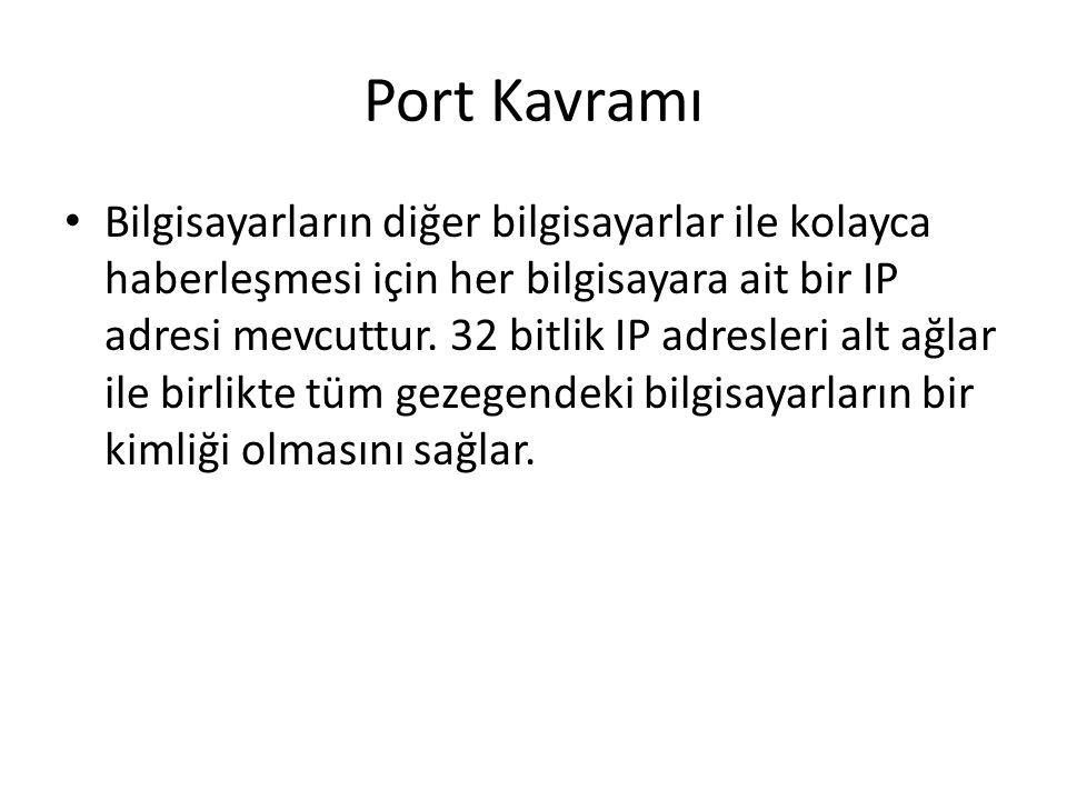 Port Kavramı Bilgisayarların diğer bilgisayarlar ile kolayca haberleşmesi için her bilgisayara ait bir IP adresi mevcuttur. 32 bitlik IP adresleri alt