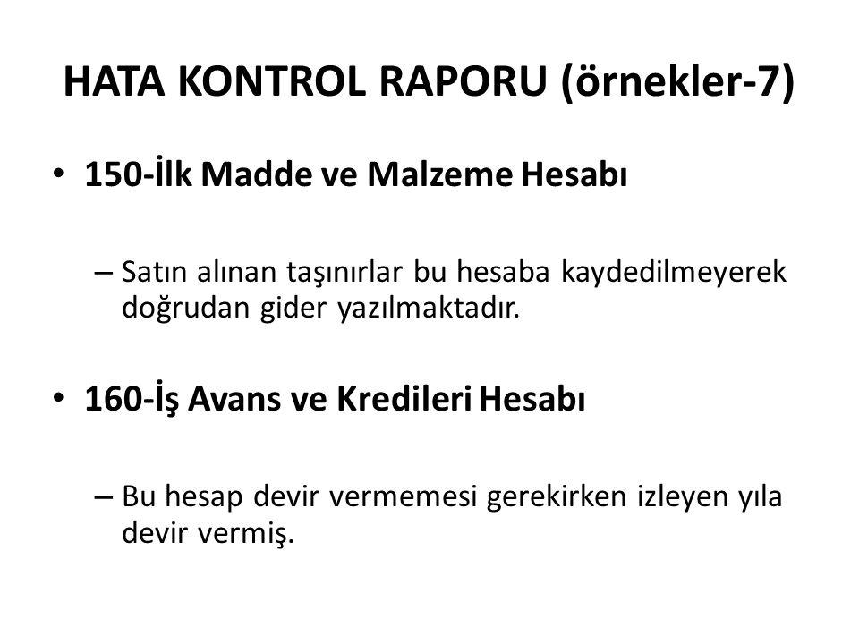 HATA KONTROL RAPORU (örnekler-7) 150-İlk Madde ve Malzeme Hesabı – Satın alınan taşınırlar bu hesaba kaydedilmeyerek doğrudan gider yazılmaktadır. 160