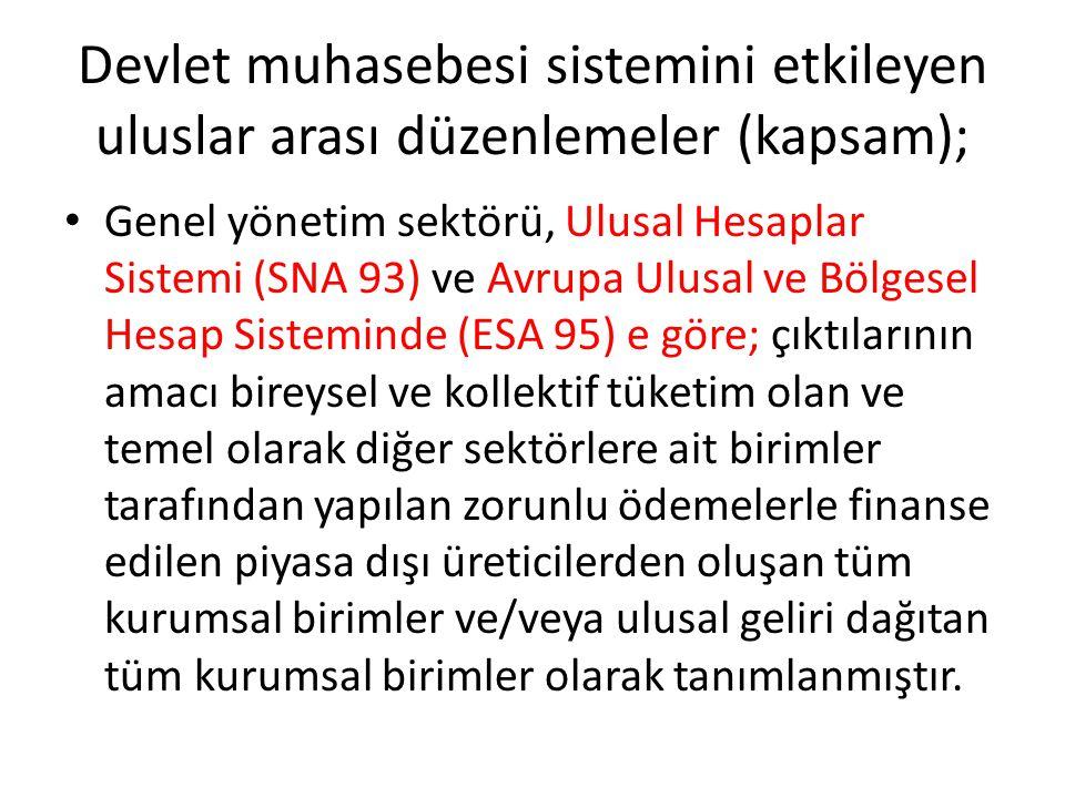 Devlet muhasebesi sistemini etkileyen uluslar arası düzenlemeler (kapsam); Genel yönetim sektörü, Ulusal Hesaplar Sistemi (SNA 93) ve Avrupa Ulusal ve