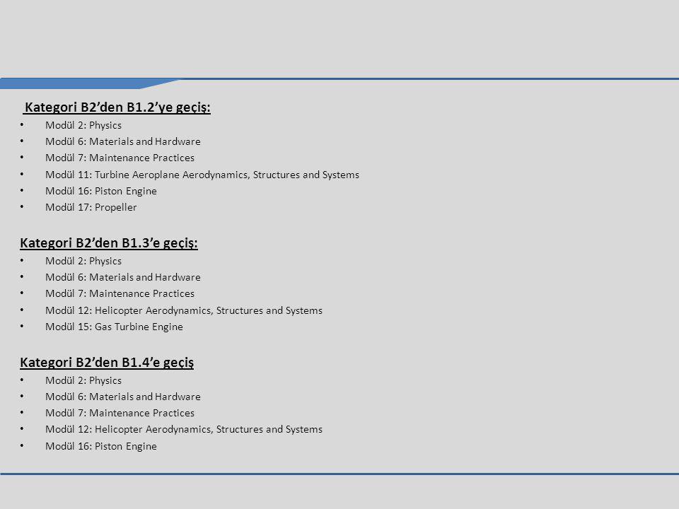 Kategori B2'den B1.2'ye geçiş: Modül 2: Physics Modül 6: Materials and Hardware Modül 7: Maintenance Practices Modül 11: Turbine Aeroplane Aerodynamics, Structures and Systems Modül 16: Piston Engine Modül 17: Propeller Kategori B2'den B1.3'e geçiş: Modül 2: Physics Modül 6: Materials and Hardware Modül 7: Maintenance Practices Modül 12: Helicopter Aerodynamics, Structures and Systems Modül 15: Gas Turbine Engine Kategori B2'den B1.4'e geçiş Modül 2: Physics Modül 6: Materials and Hardware Modül 7: Maintenance Practices Modül 12: Helicopter Aerodynamics, Structures and Systems Modül 16: Piston Engine