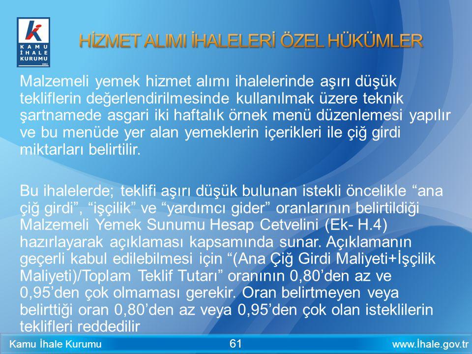www.İhale.gov.trKamu İhale Kurumu 61 Malzemeli yemek hizmet alımı ihalelerinde aşırı düşük tekliflerin değerlendirilmesinde kullanılmak üzere teknik ş