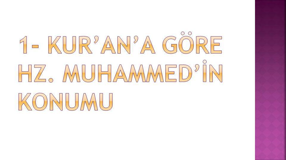  1.Hz. Muhammed'in Beşerî Yönü  2. Hz. Muhammed'in Peygamberlik Yönü  3.