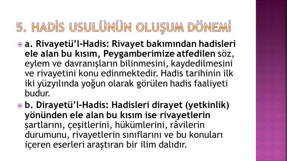  a. Rivayetü'l-Hadis: Rivayet bakımından hadisleri ele alan bu kısım, Peygamberimize atfedilen söz, eylem ve davranışların bilinmesini, kaydedilmesin