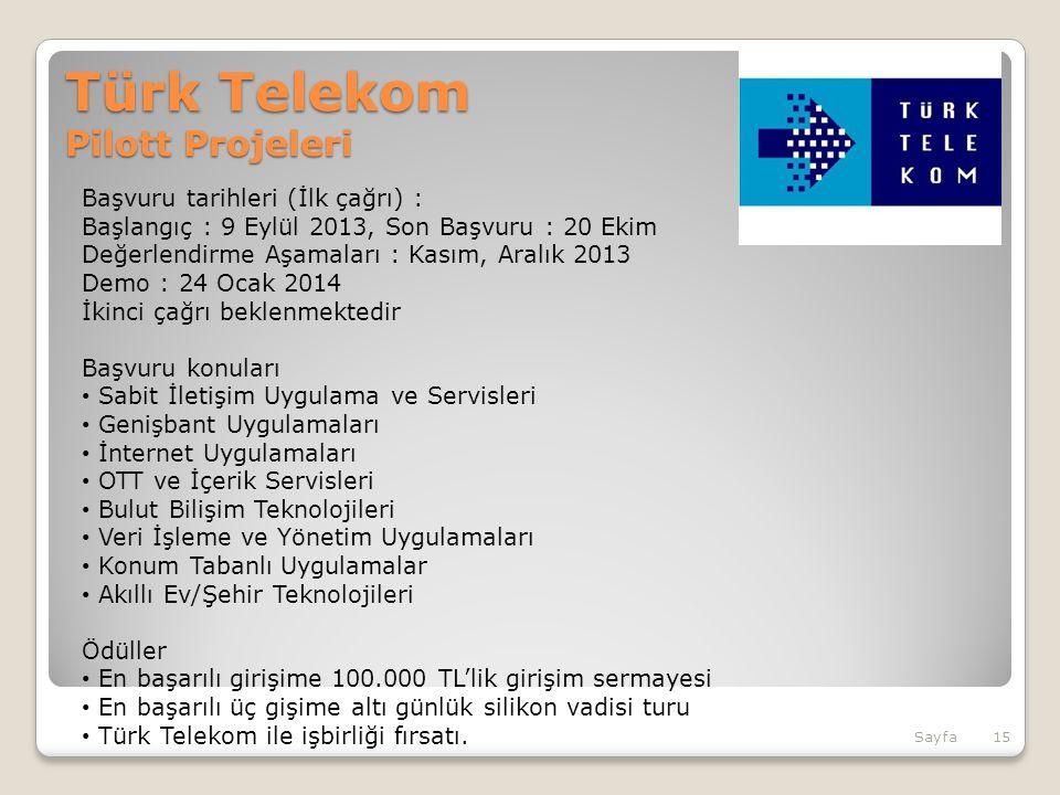 Türk Telekom Pilott Projeleri Başvuru tarihleri (İlk çağrı) : Başlangıç : 9 Eylül 2013, Son Başvuru : 20 Ekim Değerlendirme Aşamaları : Kasım, Aralık 2013 Demo : 24 Ocak 2014 İkinci çağrı beklenmektedir Başvuru konuları Sabit İletişim Uygulama ve Servisleri Genişbant Uygulamaları İnternet Uygulamaları OTT ve İçerik Servisleri Bulut Bilişim Teknolojileri Veri İşleme ve Yönetim Uygulamaları Konum Tabanlı Uygulamalar Akıllı Ev/Şehir Teknolojileri Ödüller En başarılı girişime 100.000 TL'lik girişim sermayesi En başarılı üç gişime altı günlük silikon vadisi turu Türk Telekom ile işbirliği fırsatı.