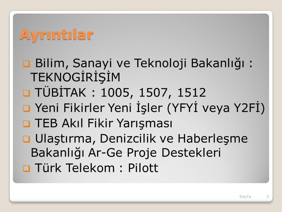 Ayrıntılar  Bilim, Sanayi ve Teknoloji Bakanlığı : TEKNOGİRİŞİM  TÜBİTAK : 1005, 1507, 1512  Yeni Fikirler Yeni İşler (YFYİ veya Y2Fİ)  TEB Akıl Fikir Yarışması  Ulaştırma, Denizcilik ve Haberleşme Bakanlığı Ar-Ge Proje Destekleri  Türk Telekom : Pilott Sayfa3
