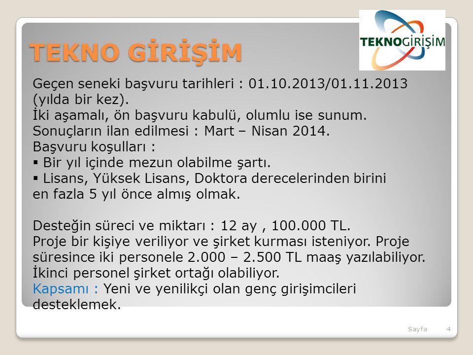TEKNO GİRİŞİM Geçen seneki başvuru tarihleri : 01.10.2013/01.11.2013 (yılda bir kez).