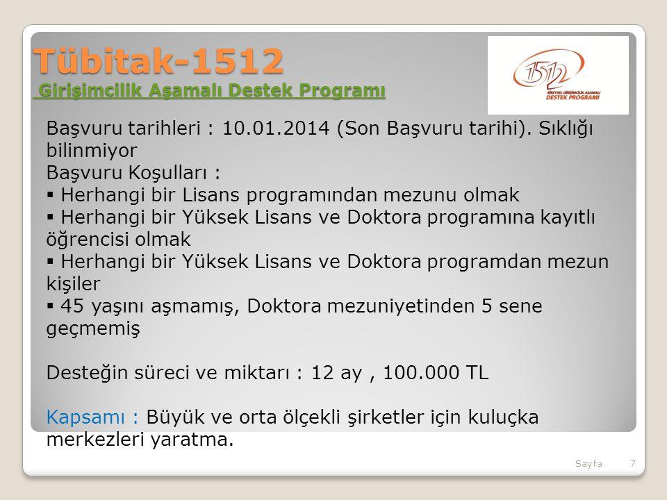Tübitak-1512 Girişimcilik Aşamalı Destek Programı Girişimcilik Aşamalı Destek Programı Girişimcilik Aşamalı Destek Programı Başvuru tarihleri : 10.01.2014 (Son Başvuru tarihi).